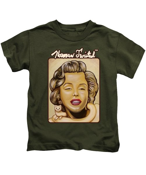 Marilyn In Gold Nt Kids T-Shirt by Norman Twisted