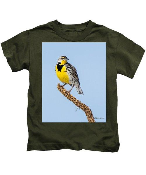 Meadowlark On Mullein Stalk Kids T-Shirt by Stephen Johnson