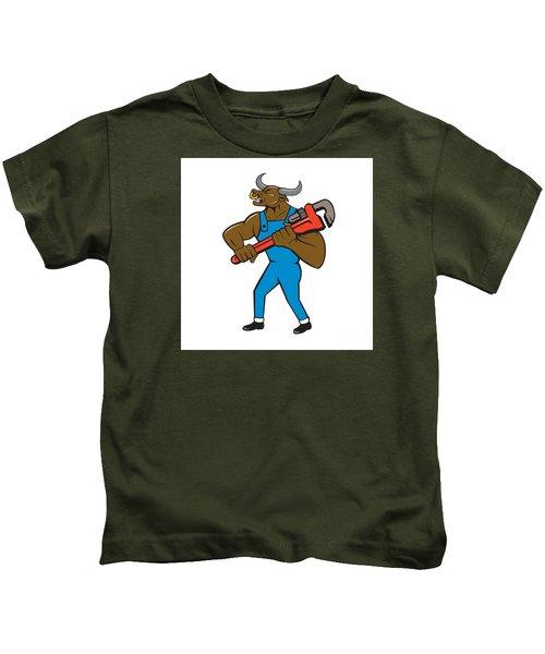 Minotaur Bull Plumber Wrench Isolated Cartoon Kids T-Shirt by Aloysius Patrimonio