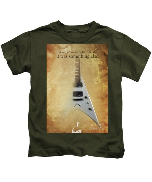 Mr Spock Inspirational Quote And Electric Guitar Brown Vintage Poster For Musicians And Trekkers Kids T-Shirt by Pablo Franchi