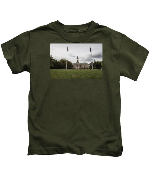 Old Main Penn State Wide Shot  Kids T-Shirt by John McGraw