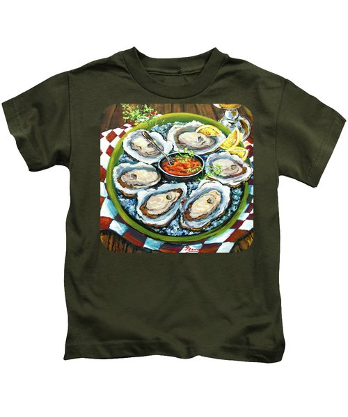 Oysters On The Half Shell Kids T-Shirt by Dianne Parks