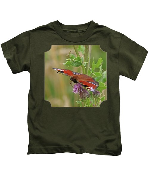 Peacock Butterfly On Thistle Square Kids T-Shirt by Gill Billington