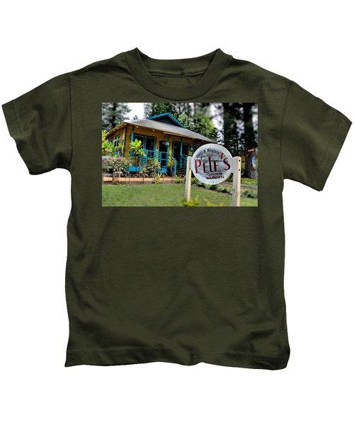 Pele's Lanai Style Kids T-Shirt by DJ Florek