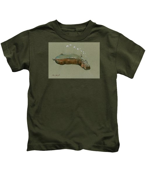 Playing Hippo Kids T-Shirt by Juan  Bosco