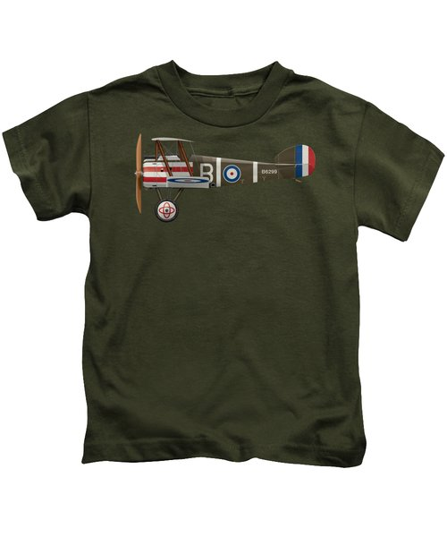 Sopwith Camel - B6299 - Side Profile View Kids T-Shirt by Ed Jackson