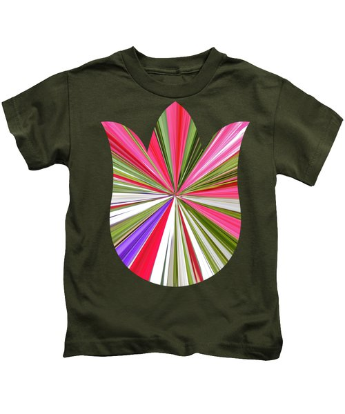 Striped Tulip Kids T-Shirt by Marian Bell
