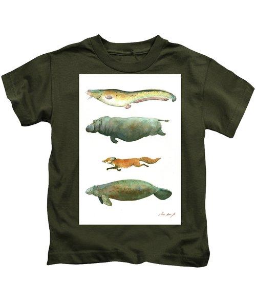 Swimming Animals Kids T-Shirt by Juan Bosco