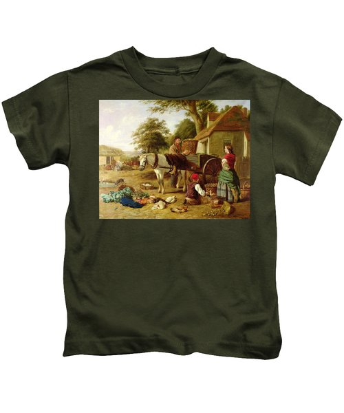 The Market Cart Kids T-Shirt by Henry Charles Bryant
