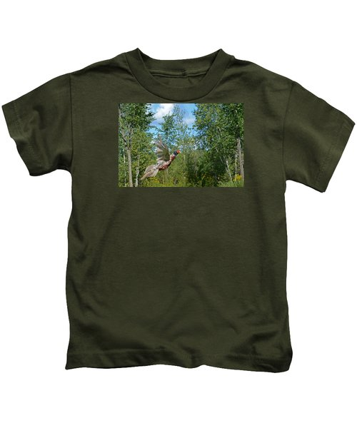 The Ring-necked Pheasant In Take-off Flight Kids T-Shirt by Asbed Iskedjian