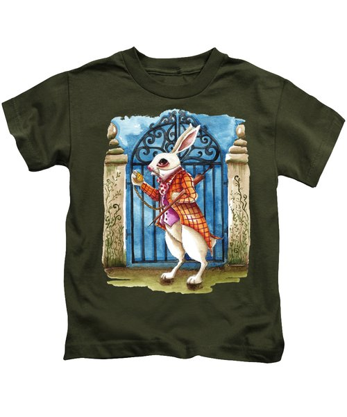 The White Rabbit Late Again Kids T-Shirt by Lucia Stewart