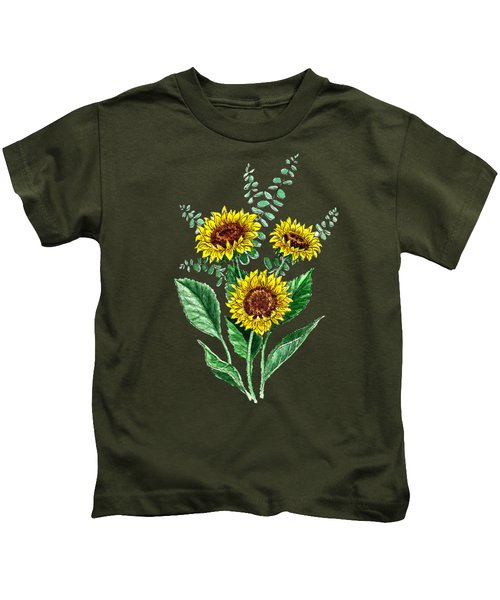 Three Playful Sunflowers Kids T-Shirt by Irina Sztukowski