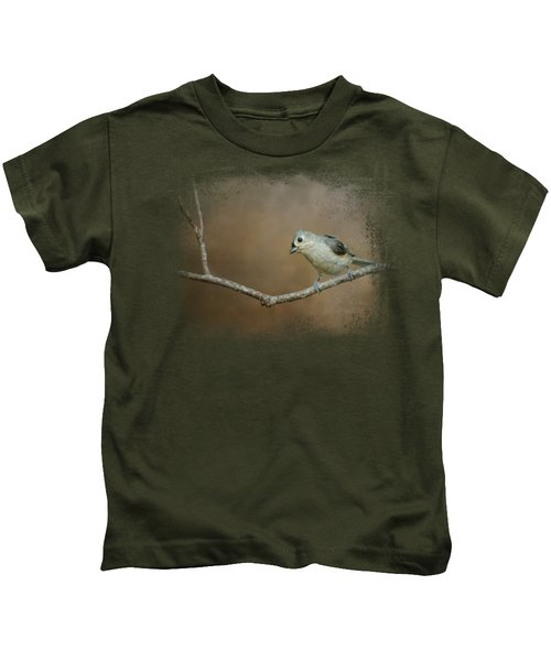 Visiting Tufted Titmouse Kids T-Shirt by Jai Johnson