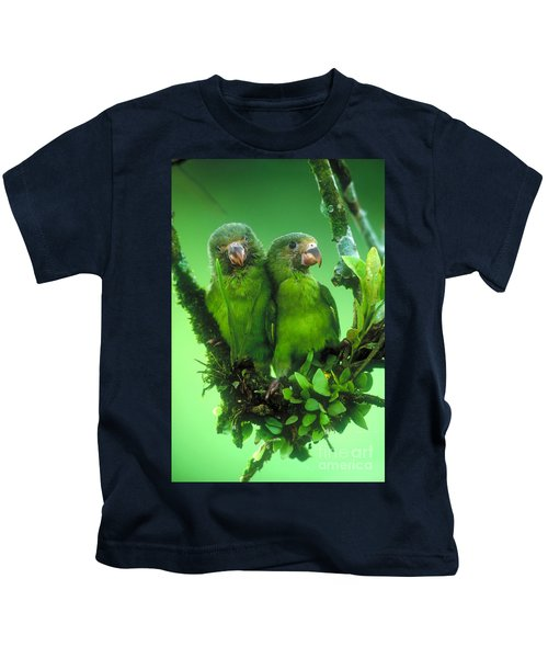 Cobalt-winged Parakeets Kids T-Shirt by Art Wolfe