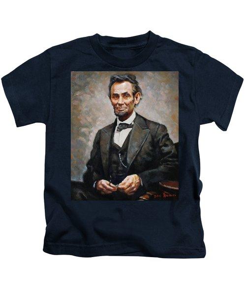 Abraham Lincoln Kids T-Shirt by Ylli Haruni