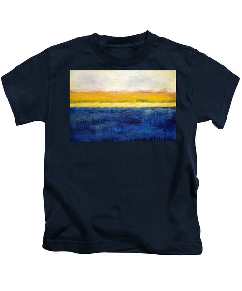 Abstract Dunes With Blue And Gold Kids T-Shirt by Michelle Calkins