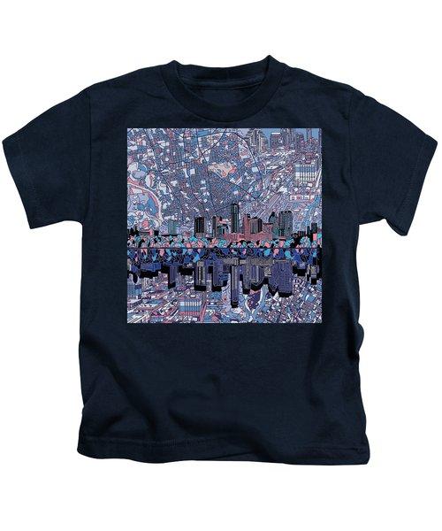 Austin Texas Skyline 3 Kids T-Shirt by Bekim Art