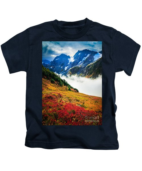 Cascade Pass Peaks Kids T-Shirt by Inge Johnsson
