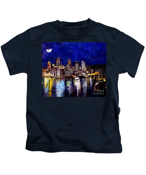 City Of Pittsburgh At The Point Kids T-Shirt by Christopher Shellhammer
