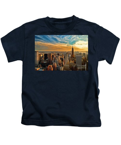 City Sunset New York City Usa Kids T-Shirt by Sabine Jacobs
