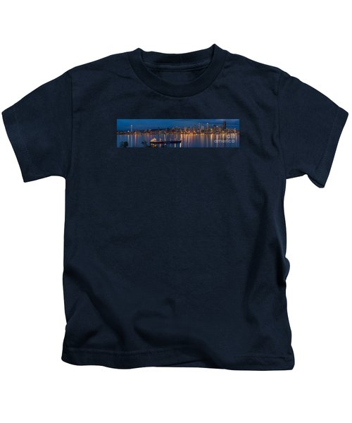 Elliott Bay Seattle Skyline Night Reflections  Kids T-Shirt by Mike Reid