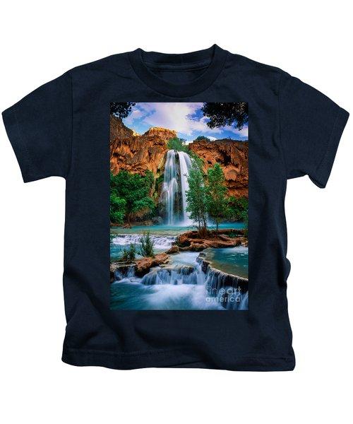 Havasu Cascades Kids T-Shirt by Inge Johnsson