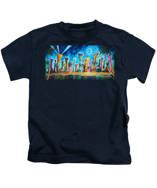 Miami City South Beach Original Painting Tropical Cityscape Art Miami Night Life By Madart Absolut X Kids T-Shirt by Megan Duncanson
