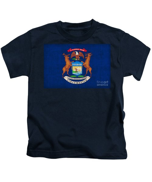 Michigan State Flag Kids T-Shirt by Pixel Chimp