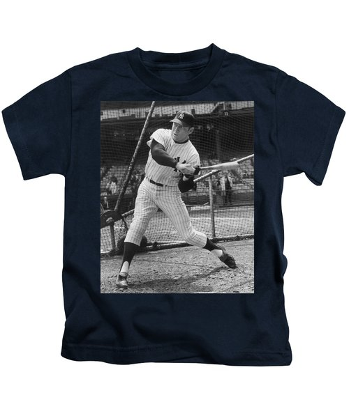 Mickey Mantle Poster Kids T-Shirt by Gianfranco Weiss