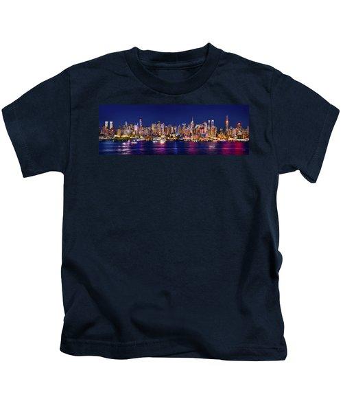 New York City Nyc Midtown Manhattan At Night Kids T-Shirt by Jon Holiday