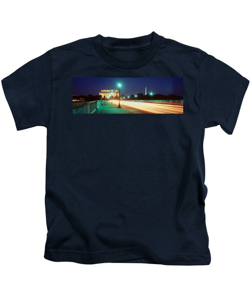 Night, Lincoln Memorial, District Of Kids T-Shirt by Panoramic Images