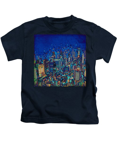 Philadelphia Panorama Pop Art 2 Kids T-Shirt by Bekim Art