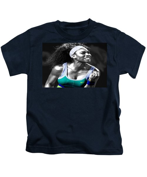 Serena Williams Ace Kids T-Shirt by Brian Reaves