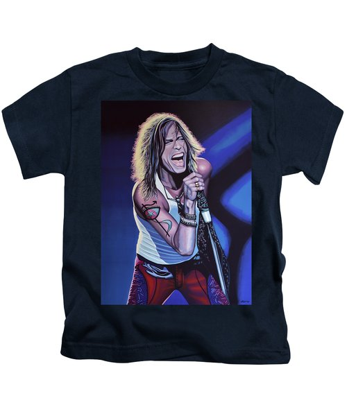 Steven Tyler Of Aerosmith Kids T-Shirt by Paul Meijering