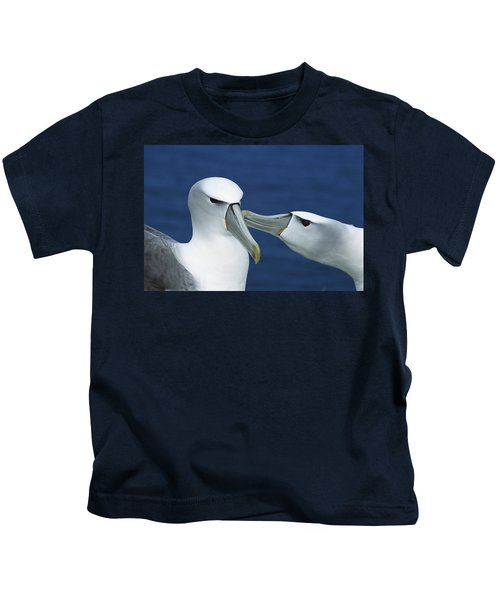 White-capped Albatrosses Courting Kids T-Shirt by Tui De Roy