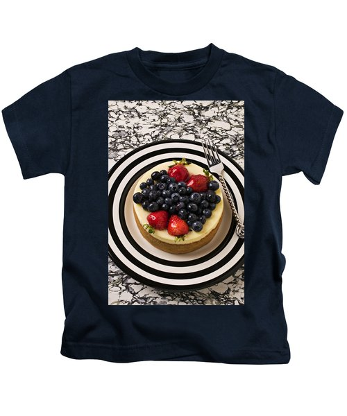 Cheese Cake On Black And White Plate Kids T-Shirt by Garry Gay