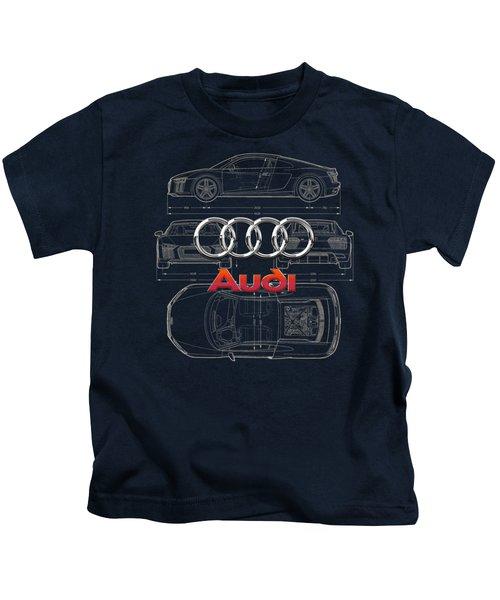 Audi 3 D Badge Over 2016 Audi R 8 Blueprint Kids T-Shirt by Serge Averbukh
