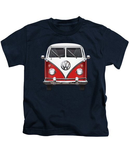 Volkswagen Type 2 - Red And White Volkswagen T 1 Samba Bus Over Green Canvas  Kids T-Shirt by Serge Averbukh