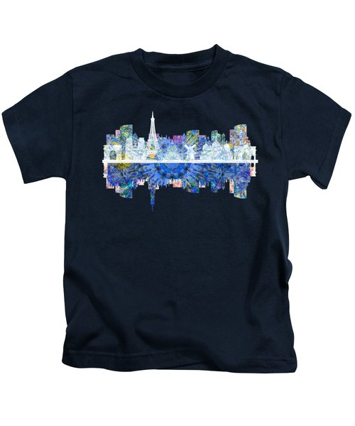 Paris France Fantasy Skyline Kids T-Shirt by John Groves