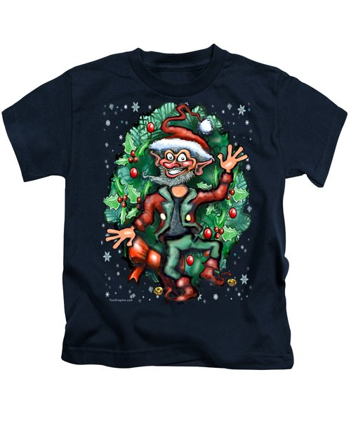 Christmas Elf Kids T-Shirt by Kevin Middleton