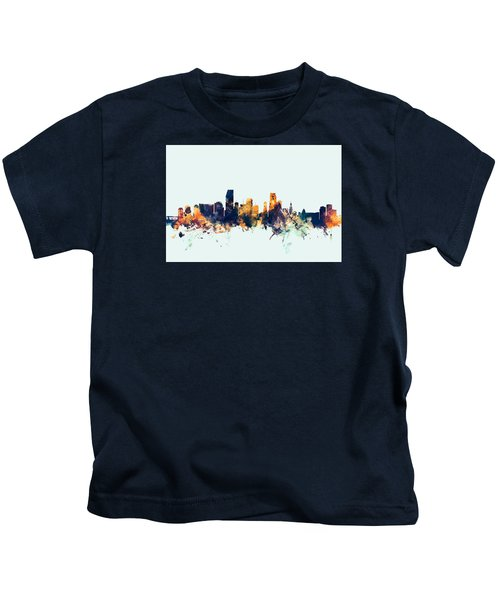 Miami Florida Skyline Kids T-Shirt by Michael Tompsett