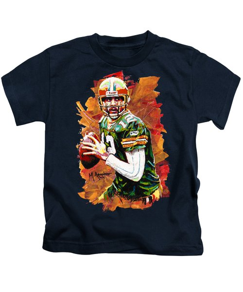 Aaron Rodgers Kids T-Shirt by Maria Arango