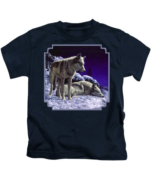 Wolf Painting - Night Watch Kids T-Shirt by Crista Forest