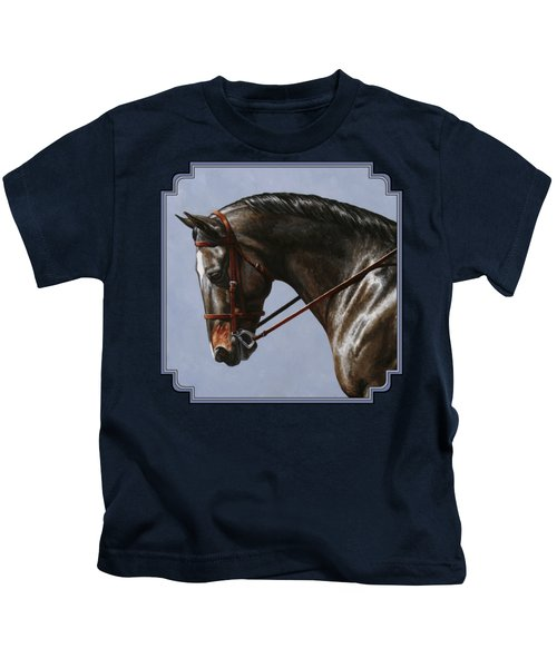 Horse Painting - Discipline Kids T-Shirt by Crista Forest