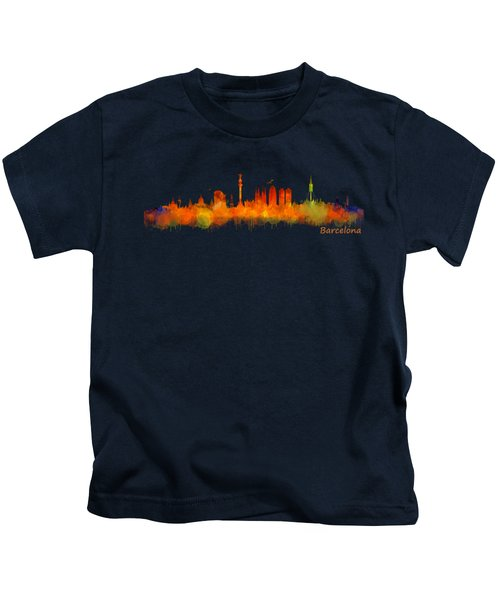Barcelona City Skyline Hq V2 Kids T-Shirt by HQ Photo