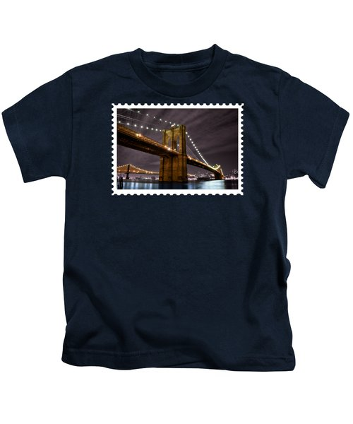 Brooklyn Bridge At Night New York City Kids T-Shirt by Elaine Plesser