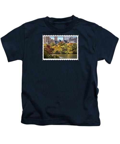 Central Park Lake In Fall Kids T-Shirt by Elaine Plesser