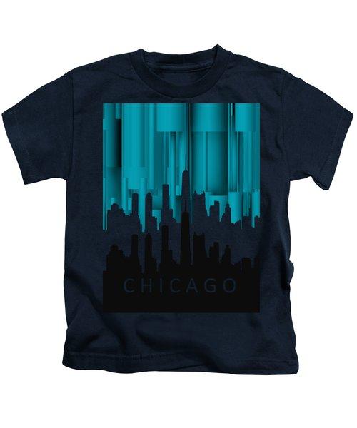 Chicago Turqoise Vertical In Negetive Kids T-Shirt by Alberto RuiZ