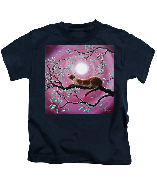 Chocolate Burmese Cat In Dancing Leaves Kids T-Shirt by Laura Iverson