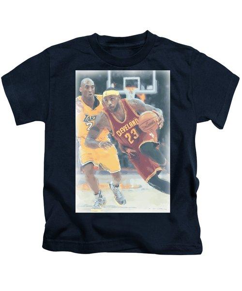 Cleveland Cavaliers Lebron James 3 Kids T-Shirt by Joe Hamilton